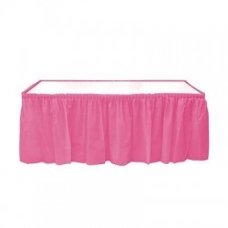 Plastic pink table skirt